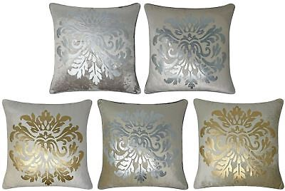 "Chantilly Velvet Cushion Cover Luxury Metallic Damask Print Covers 18"" x 18"""