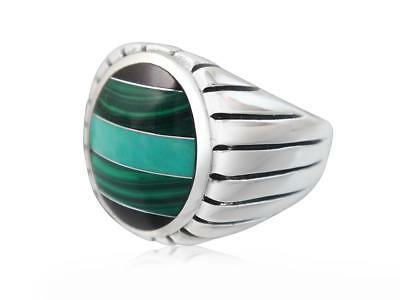 925 Sterling Silver Mens Onyx Malachite Turquoise Engraved High Polish Band Ring