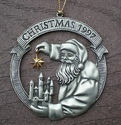 Avon 1997 Santa Clause Holding Goldtone Star Christmas Pewter Ornament