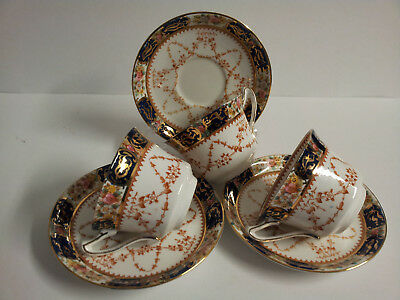 Vintage Sutherland Art China England 3 Cup and Saucer Sets