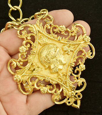 Large Heavy Vintage Necklace Crown Lion Fleur de Lis Flower Crest ~ Lot 2035