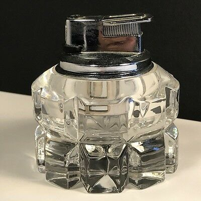 Vintage Glass Table Lighter Silver Top Crystal Clear Japan Collectible Round