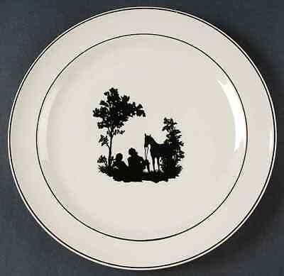 Harker COLONIAL LADY BLACK TRIM Luncheon Plate 9981185