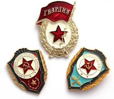 3 Awarded USSR Soviet Union Russian Military Badges