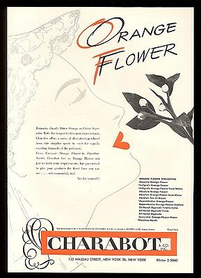 1953 Charabot orange flower derivatives for perfume vintage trade print ad