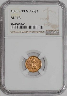 1873 $ Gold Indian Open 3 Dollar AU53 NGC