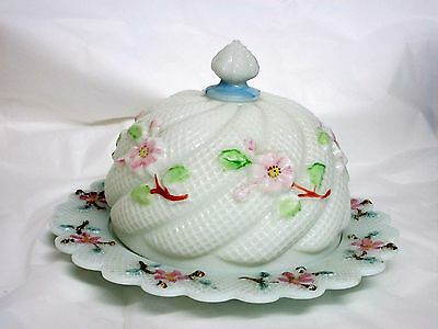 Daisy/Cosmos Milk Glass Covered Butter / Cheese 1890s Consolidated Glass BLUE