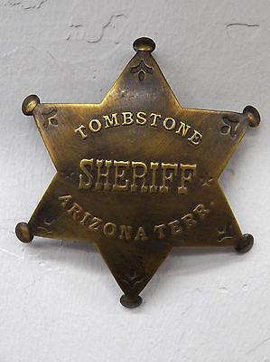 Deluxe Brass Law Star Badge Tombstone Sheriff Arizona Territory Vtg-Look Patina
