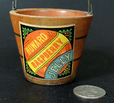 "Antique vtg Victorian Miniature Wood Bucket Paper Label ""Howard RASPBERRY JELLY"""