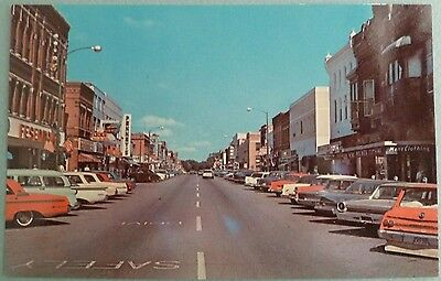 New Ulm Minnesota Postcard Vintage Downtown Main Street Old Cars Stores 1950's