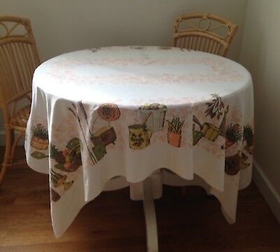 "Vintage Tablecloth 53"" x 67"" Mid-century"