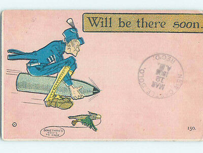 Pre-Linen comic BE THERE SOON - BIRD FLIES WITH MAN RIDING MISSILE HQ8568