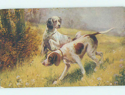 Pre-Linen PAIR OF BEAUTIFUL LARGE HUNTING DOGS ON THE PROWL HJ4784