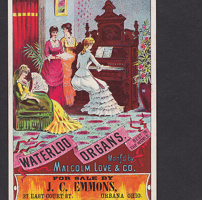 Waterloo 1800's Malcolm Love Organ J Emmons Urbana OH old Advertising Trade Card