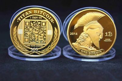 BITCOIN!! Gold Plated .999 fine copper Titan novelty Physical Bitcoin Coin