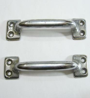 "2 Vintage Chrome 4"" Sash Lift Cabinet Door Pull Handle Hardware Metal Pair"