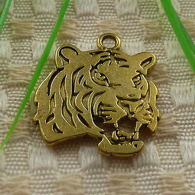 free ship 18 pieces gold plated tiger charms 27x24mm #4370