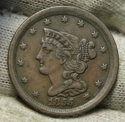1855 Braided Hair Half Cent - Rare Only 56,500 Minted . Nice Coin (5622)