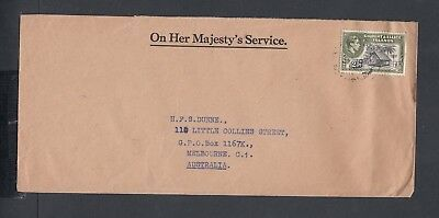 GILBERT & ELLICE ISLANDS 1940s OHMS OFFICIAL COVER TO MELBOURNE AUSTRALIA