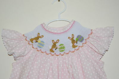 NWT Easter Paint Bunnies Smocked Bishop Girl Dress 5T