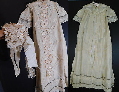 Victorian Organdy Silk Lace Italian Baptism Christening Gown Baby Dress & Bonnet
