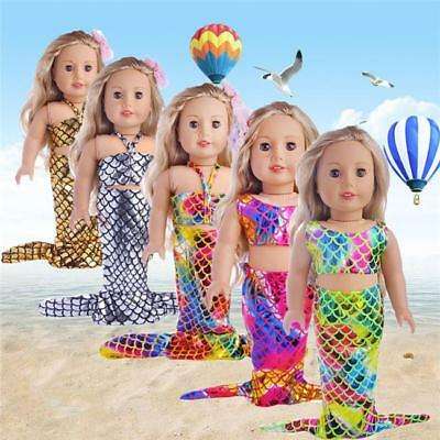 Mermaid Dress For 18 Inch American Girl Doll Toy Accessories Children Gift BS