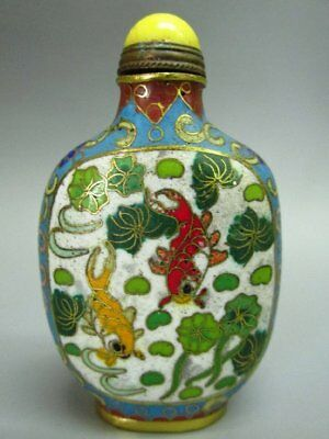 Chinese Flower Fish Pattern Carved Cloisonne Snuff Bottle