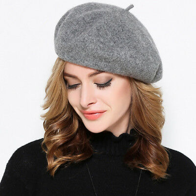 Womens Classic 100% Wool Beret French Artist Basque Beanie Winter Warm Cap Y63