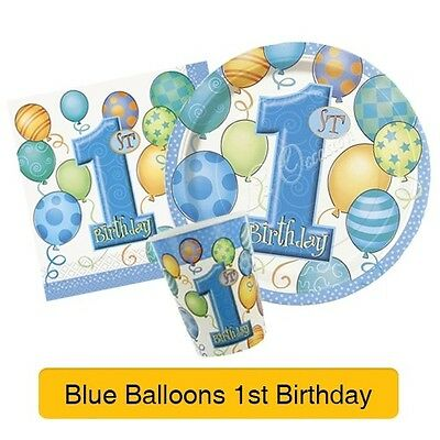 1st BIRTHDAY BALLOONS BLUE PARTY ITEMS (First/Boy) Tableware & Decorations (1C)