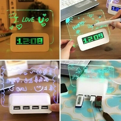 LED Light Luminous Fluorescent Message Board Digital Alarm Clock Calendar + Pen