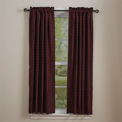 Country Dorset Lined Panel Curtains 72Wx63L Red Black Tan Plaid Farmhouse Window