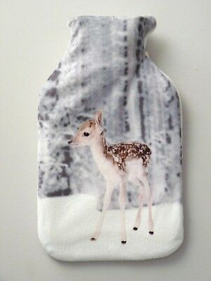 Winter Fawn Hot Water Bottle Cover With Bottle