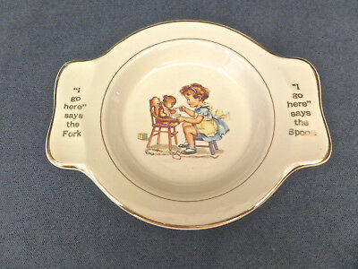 "VTG Salem China Child's Plate/Bowl ""I Go Here"" says the Fork & Spoon - Adorable!"