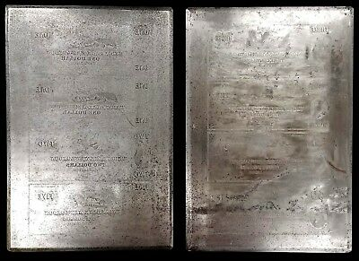 """1840's """"The Union Bank of New London"""" TWO full sheet currency printing plates!"""