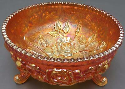 Vintage Imperial Marigold Carnival Glass 3 Footed Candy Dish Bowl Rose Pattern