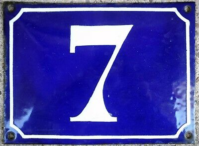 Large old French house number 7 door gate plate plaque enamel steel metal sign