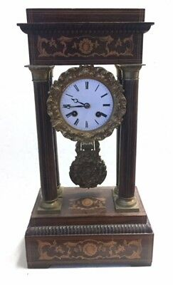 Antique  French Empire Portico  Mantel Clock Inlaid Wood Case  W/O Mid 1800s