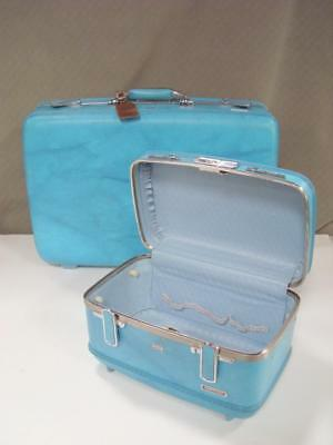 Vintage 2 Pc Luggage Set Turquoise Blue American Tourister Suitcase + Train Case