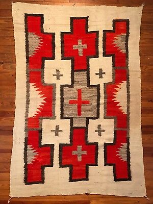 Exceptional c1885 HISTORIC NAVAJO TRANSITIONAL BLANKET WITH 9 SPOT CROSS DESIGN