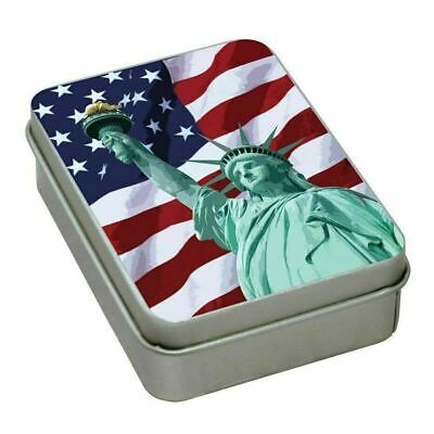 American Flag Tin Container Full of Ohio Blue Tip Safety Matches  Made In USA