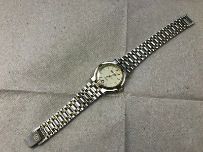 Gucci Ladies Vintage Authentic Two Tone Wrist Watch sapphire crystal 9000L