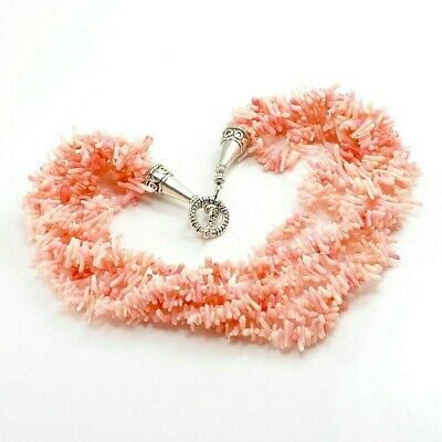Multi-Strand Pink Angelskin Coral Chip Beads Necklace w/Silver Tone Toggle 18.5""