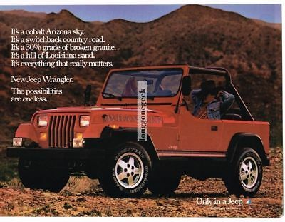 1986 Jeep Wrangler Red Cowboy Relaxing Inside Vtg Print Ad