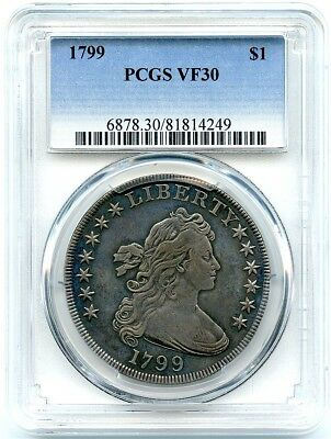 1799 Draped Bust Liberty Silver Dollar, PCGS VF-30, Nice Problem Free Dollar!
