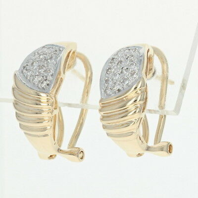 Diamond Encrusted J Hoop Earrings 14k Yellow Gold 0 14ctw Omega Closures