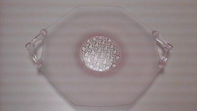 Vintage Pink Depression Glass 7 Inch Satin Frosted 2 Handle Dish