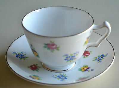 Staffordshire Delicate Flower Bone China Cup & Saucer Made In England Gold Trim