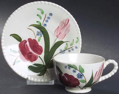 Blue Ridge Pottery BLUEBELL BOUQUET Green Leaves Cup & Saucer 5560901