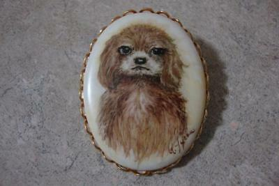 Precious Vintage Hand Painted Shaggy Dog Pin Pendant Artist Signed