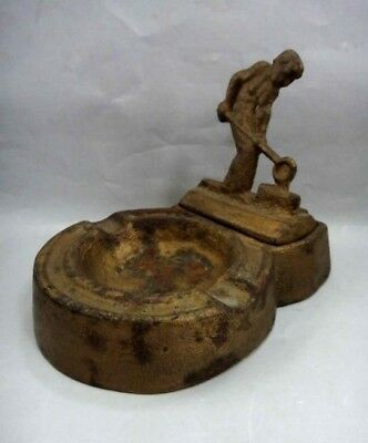 vintage 2pc CAST IRON EARLY ASHTRAY,FIGURAL WORKER foundry MATCH HOLD prototype?